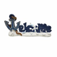 "14"" Navy and White Mosaic Anchor Welcome Sign Block"