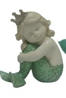"5"" Mernaid Baby With Green Tail and Crown Holding Her Knees"