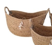 """21"""" Oval Weaved Wood Basket With Shell Ornament"""