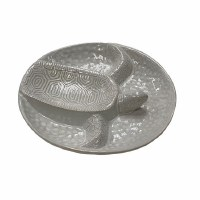 "11"" Round White Ceramic Turtle Chip & Dip Serving Tray"