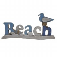 "15"" Antique White and Blue Beach Sign With Sea Bird"