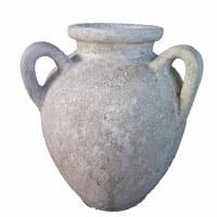 "24"" Distressed White Double Handle Vase"