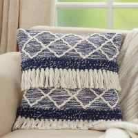 """18"""" Square Two-toned Blue and Ivory Fringe Moroccan Pillow"""