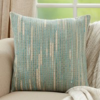 """20"""" Square Aqua and Ivory Striped Woven Pillow"""