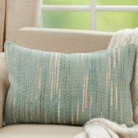 """16"""" x 24"""" Aqua and Ivory Striped Woven Pillow"""