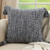 "22"" Square Navy and White Corner Tasseled Pillow"