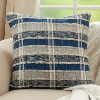 """22"""" Square Blue and Natural Striped Woven Pillow"""