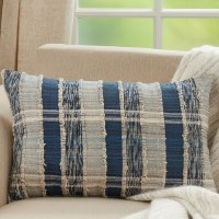"""16"""" x 24"""" Blue and Natural Striped Woven Pillow"""