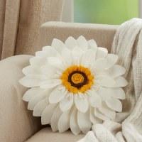 "13"" Round Ivory Felt Flower Pillow"