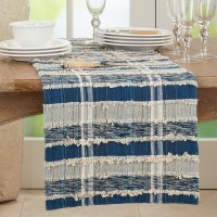 """16"""" x 72"""" Blue and Natural Striped Woven Table Runner"""