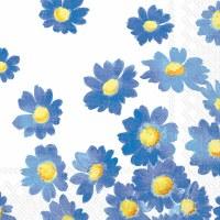 "5"" Square Blue Daisies on White Beverage Napkins"