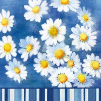 "6.5"" Square White Daisies on Blue Lunch Napkin"