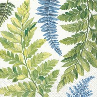 """5"""" Square Blue and Green Fronds Beverage Napkins"""