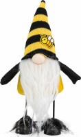 "11"" Gnome With Yellow and Black Striped Bouncy Bee Hat"