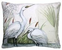 "18"" Square White Egret Duo Pillow"