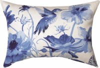 """13"""" x 18"""" White and Blue Hummingbirds Flowers Pillow"""
