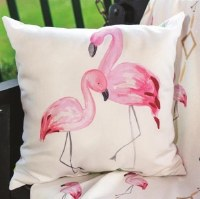 "18"" Square Double Flamingo Pillow"