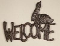 """9"""" Cast Iron Pelican Welcome Plaque"""