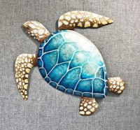 """20"""" Blue Capiz and Metal Sea Turtle Wall Plaque"""