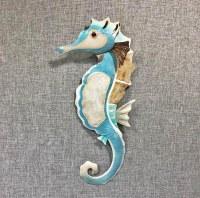 """17"""" Aqua and Natural Capiz With Metal Seahorse Wall Plaque"""