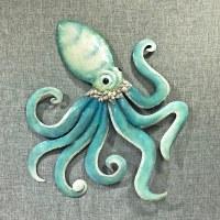 """24"""" Aqua Capiz Octopus Wall Plaque"""