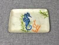 "6"" x 8"" Painted Blue Seahorse Capiz Tray"