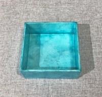 "6"" Square Blue Capiz Beverage Napkin Holder"
