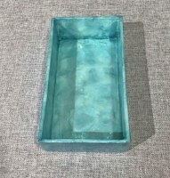 "9"" x 5"" Blue Capiz Guest Towel Holder"