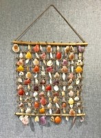 """18"""" x 22"""" Multicolor Shell and Abaca Rope Grid Wall Hanging"""