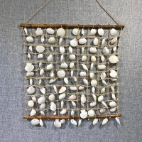 "18"" x 22"" White Shell and Abaca Rope Grid Wall Hanging"