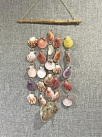 """26"""" Multicolor Pecten and Saddle Oyster Bamboo Rod Wind Chime5"""