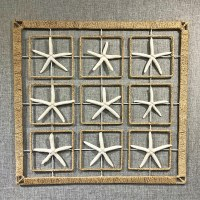 """24"""" Square White Starfish in Abaca Ropw Wrapped Metal Frame"""
