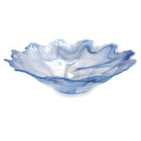 "16"" Round Blue and White Swirls Wavy Edged Murano Glass Centerpiece Bowl"