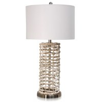 "31"" Whitewashed Hyacinth Wicker Cylinder Lamp"