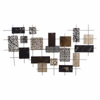 """36"""" Gold, Bronze, and Black Abstract Squares Metal Wall Plaque"""