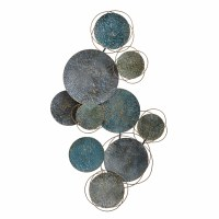 """34"""" Blue and Turquoise Disks Hammered Metal Wall Plaque"""