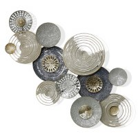 """55"""" Gold and Silver Openwork Disks Metal Wall Plaque"""
