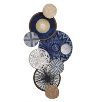 """52"""" Navy and White Wood and Wicker Disks Wall Plaque"""