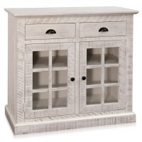 "38"" Whitewashed Wood Two Glass Doors Two Drawers Cabinet"