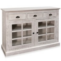 """50"""" Whitewashed Wood Two Glass Doors Three Drawers Credenza"""