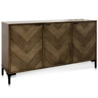 "64"" Dark Brown Chevron Two Door Credenza"