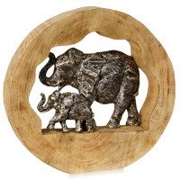 "14"" Round Mother and Child Elephant Metal and Wood Sculpture"