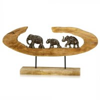 "26"" Oval Triple Elephants in Log Metal and Wood Sculpture With Stand"