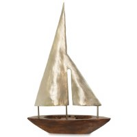 "21"" Silver Metal Sail Wooden Boat Decor"