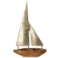 "16"" Silver Metal Sail Wooden Boat Decor"