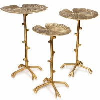 """Set of 3 15"""" Round Gold Lily Pad Tables With Branch Legs"""