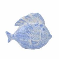 "12"" Light Blue and White Ceramic Fish Decor"