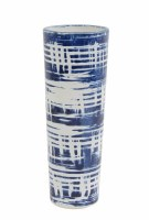 """12"""" White and Blue Ceramic Woven Pattern Cylinder Vase"""