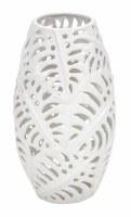 """16"""" Matte White Ceramic Fern Openwork Vase"""