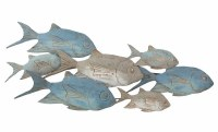 """42"""" Blue and Silver School of Fish Metal Wall Plaque"""
